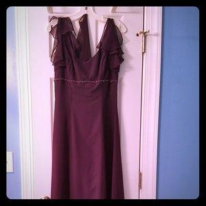 Floor length plum bridesmaid dress